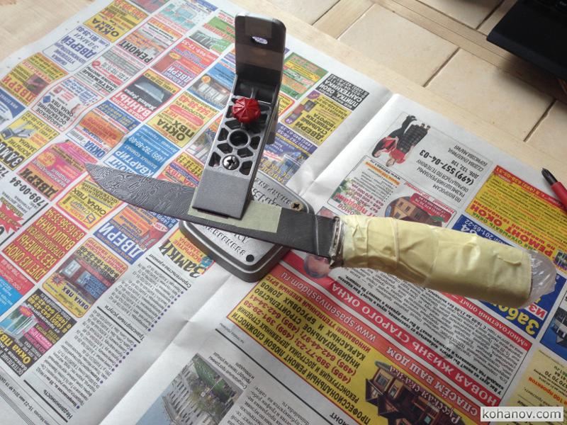 Изготовление ножа своими руками VK-N2. Заточка дамасской стали на Lansky Лански