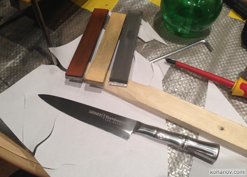Заточка стали AUS-8 на ноже Samura Bamboo
